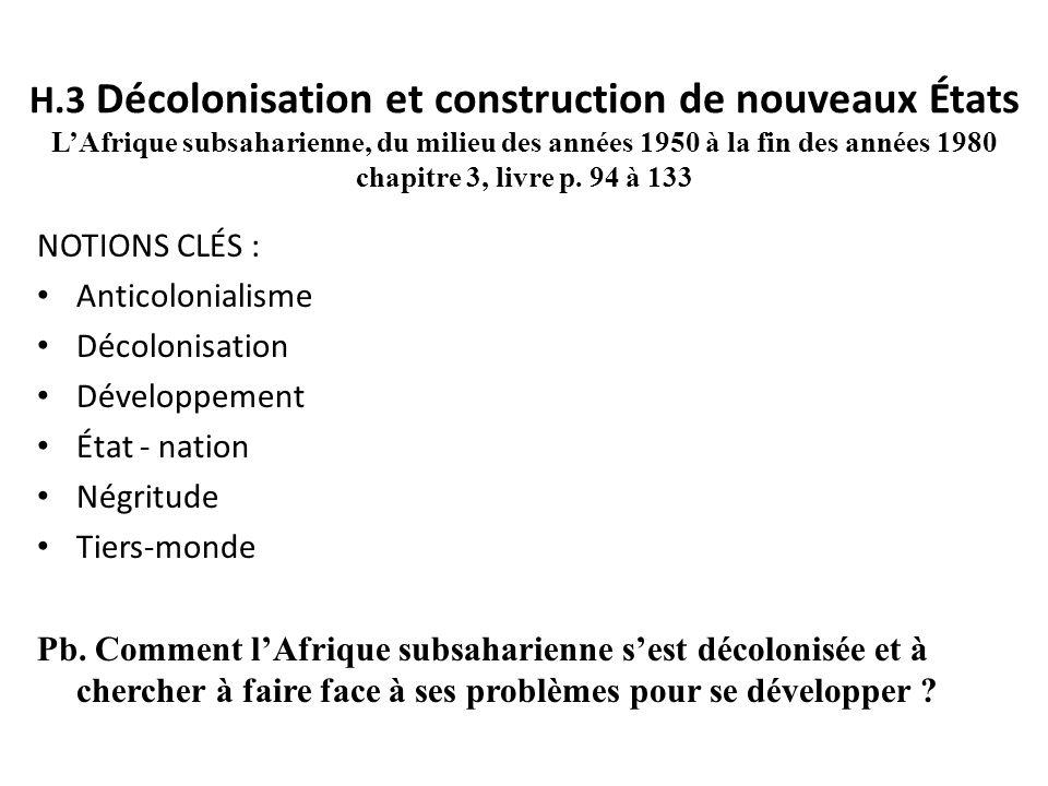 H.3 Décolonisation et construction de nouveaux États LAfrique subsaharienne, du milieu des années 1950 à la fin des années 1980 chapitre 3, livre p. 9