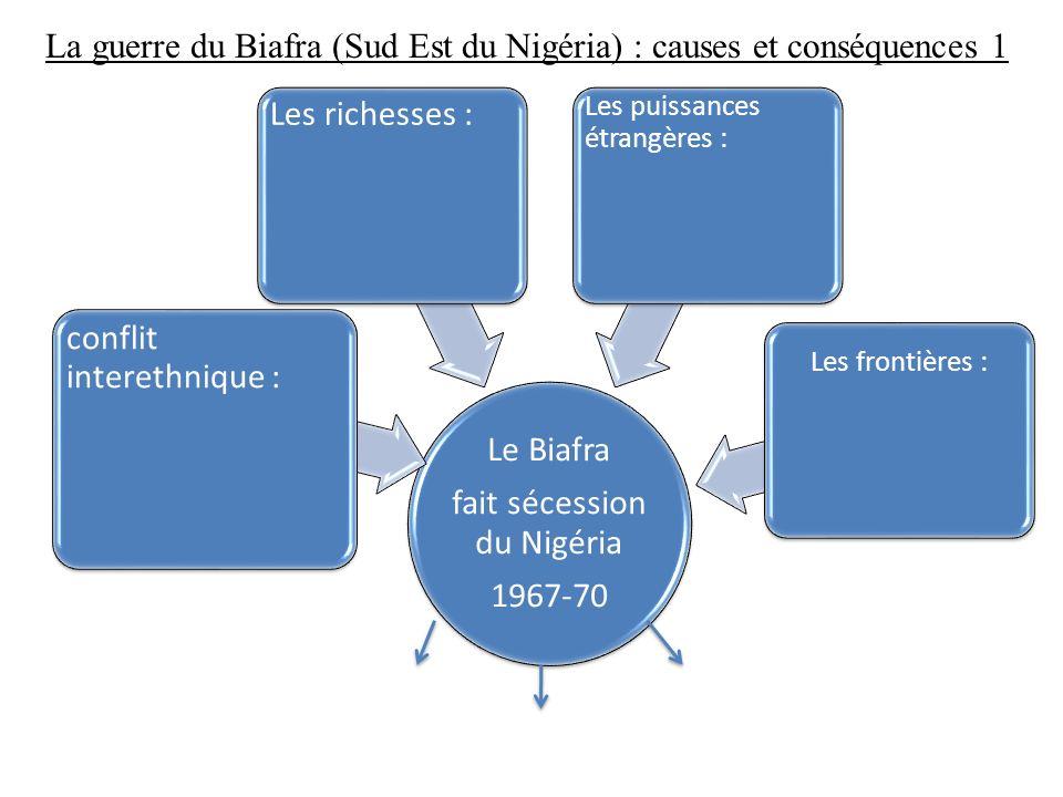 La guerre du Biafra (Sud Est du Nigéria) : causes et conséquences 1 Le Biafra fait sécession du Nigéria 1967-70 conflit interethnique : Les richesses