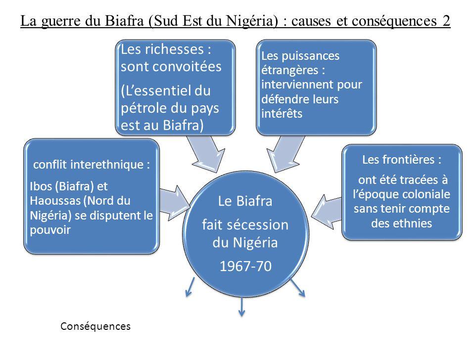 La guerre du Biafra (Sud Est du Nigéria) : causes et conséquences 2 Le Biafra fait sécession du Nigéria 1967-70 conflit interethnique : Ibos (Biafra)