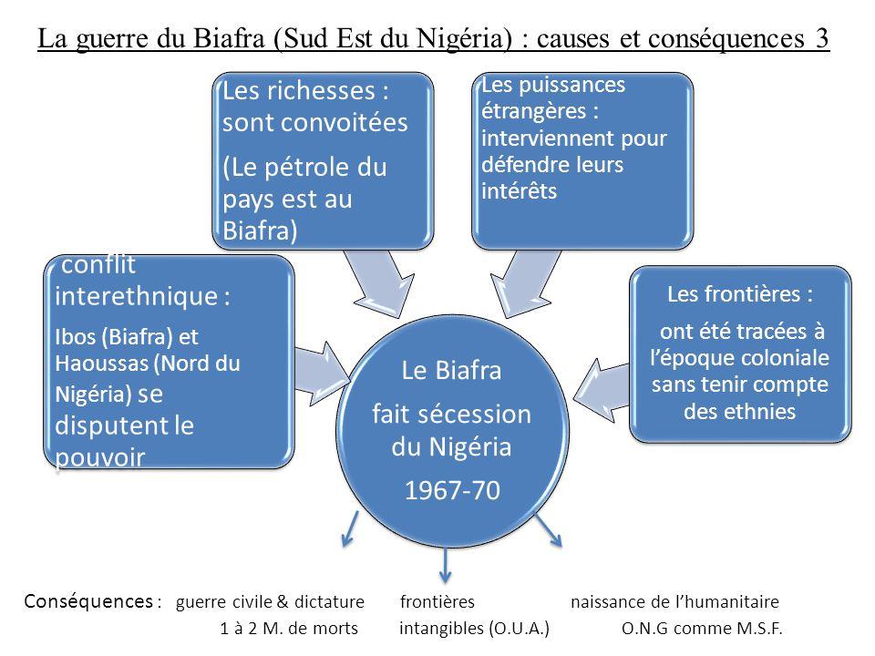 La guerre du Biafra (Sud Est du Nigéria) : causes et conséquences 3 Le Biafra fait sécession du Nigéria 1967-70 conflit interethnique : Ibos (Biafra)
