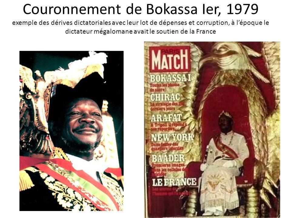 Couronnement de Bokassa Ier, 1979 exemple des dérives dictatoriales avec leur lot de dépenses et corruption, à lépoque le dictateur mégalomane avait l