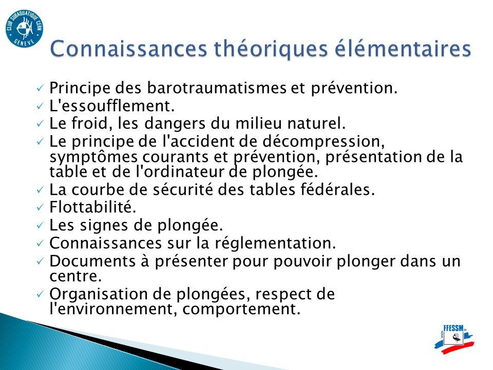 Principe des barotraumatismes et prévention.L essoufflement.