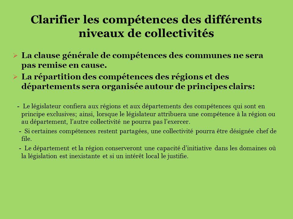 Clarifier les compétences des différents niveaux de collectivités La clause générale de compétences des communes ne sera pas remise en cause. La répar