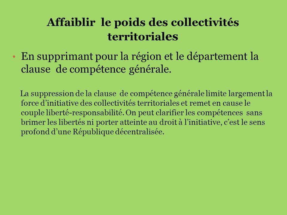 Affaiblir le poids des collectivités territorial es En supprimant pour la région et le département la clause de compétence générale. La suppression de