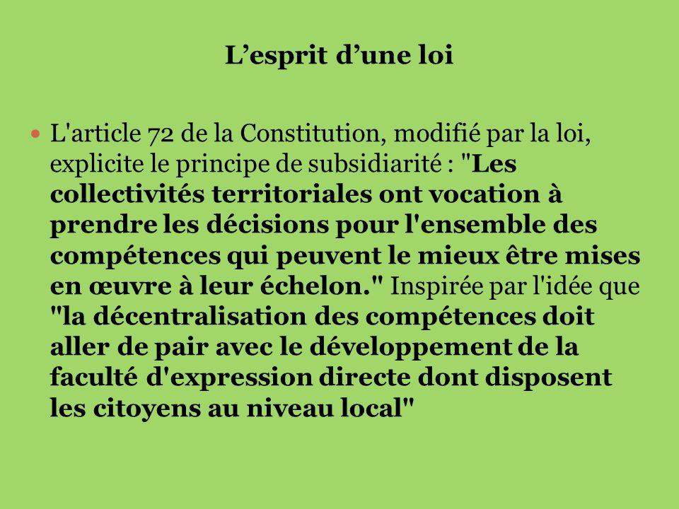 Lesprit dune loi L'article 72 de la Constitution, modifié par la loi, explicite le principe de subsidiarité :