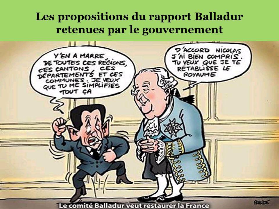Les propositions du rapport Balladur retenues par le gouvernement