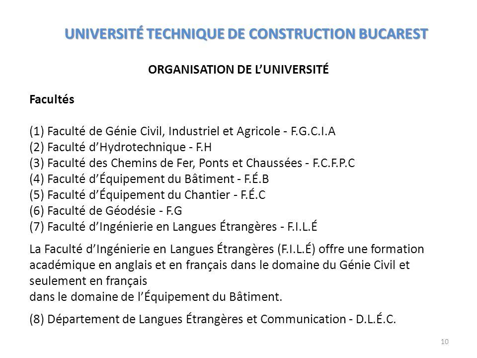 ORGANISATION DE LUNIVERSITÉ UNIVERSITÉ TECHNIQUE DE CONSTRUCTION BUCAREST Facultés (1) Faculté de Génie Civil, Industriel et Agricole - F.G.C.I.A (2)