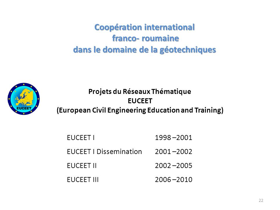 Projets du Réseaux Thématique EUCEET (European Civil Engineering Education and Training) EUCEET I 1998 –2001 EUCEET I Dissemination 2001 –2002 EUCEET