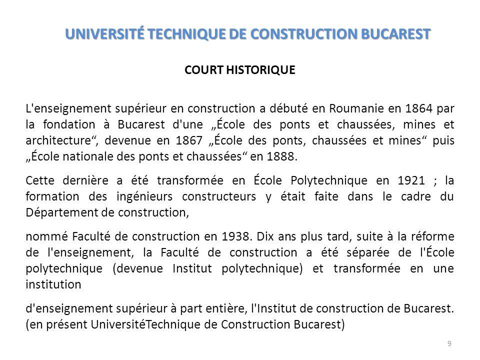 ORGANISATION DE LUNIVERSITÉ UNIVERSITÉ TECHNIQUE DE CONSTRUCTION BUCAREST Facultés (1) Faculté de Génie Civil, Industriel et Agricole - F.G.C.I.A (2) Faculté dHydrotechnique - F.H (3) Faculté des Chemins de Fer, Ponts et Chaussées - F.C.F.P.C (4) Faculté dÉquipement du Bâtiment - F.É.B (5) Faculté dÉquipement du Chantier - F.É.C (6) Faculté de Géodésie - F.G (7) Faculté dIngénierie en Langues Étrangères - F.I.L.É La Faculté dIngénierie en Langues Étrangères (F.I.L.É) offre une formation académique en anglais et en français dans le domaine du Génie Civil et seulement en français dans le domaine de lÉquipement du Bâtiment.
