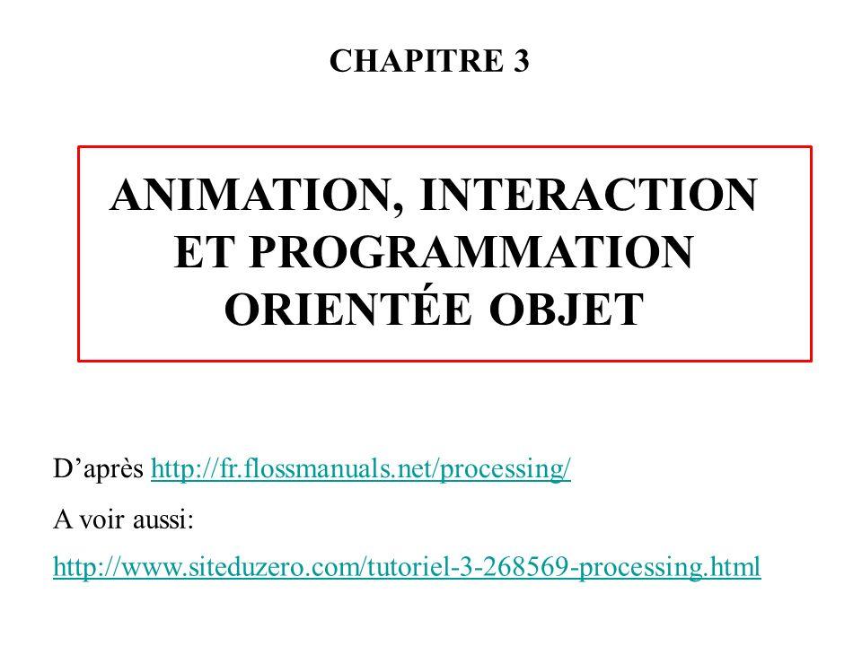 CHAPITRE 3 ANIMATION, INTERACTION ET PROGRAMMATION ORIENTÉE OBJET http://www.siteduzero.com/tutoriel-3-268569-processing.html Daprès http://fr.flossma