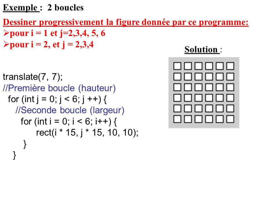 Exemple : 2 boucles translate(7, 7); //Première boucle (hauteur) for (int j = 0; j < 6; j ++) { //Seconde boucle (largeur) for (int i = 0; i < 6; i++)