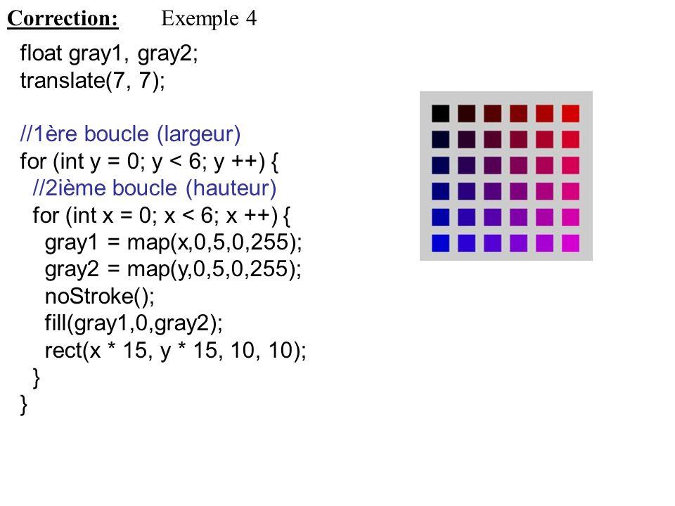 Correction:Exemple 4 float gray1, gray2; translate(7, 7); //1ère boucle (largeur) for (int y = 0; y < 6; y ++) { //2ième boucle (hauteur) for (int x =
