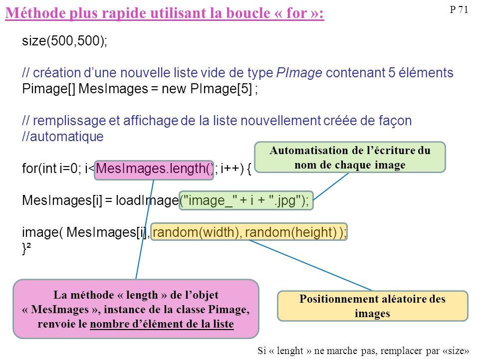 Méthode plus rapide utilisant la boucle « for »: P 71 size(500,500); // création dune nouvelle liste vide de type PImage contenant 5 éléments Pimage[]