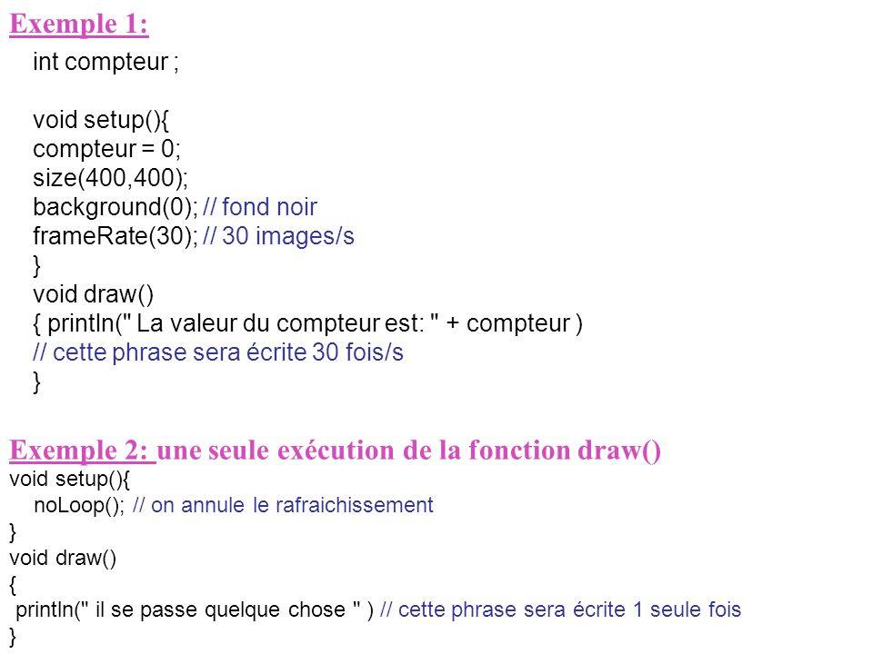 Exemple 1: int compteur ; void setup(){ compteur = 0; size(400,400); background(0); // fond noir frameRate(30); // 30 images/s } void draw() { println