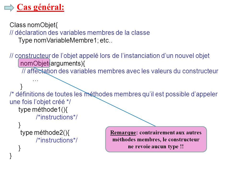 Cas général: Class nomObjet{ // déclaration des variables membres de la classe Type nomVariableMembre1; etc.. // constructeur de lobjet appelé lors de