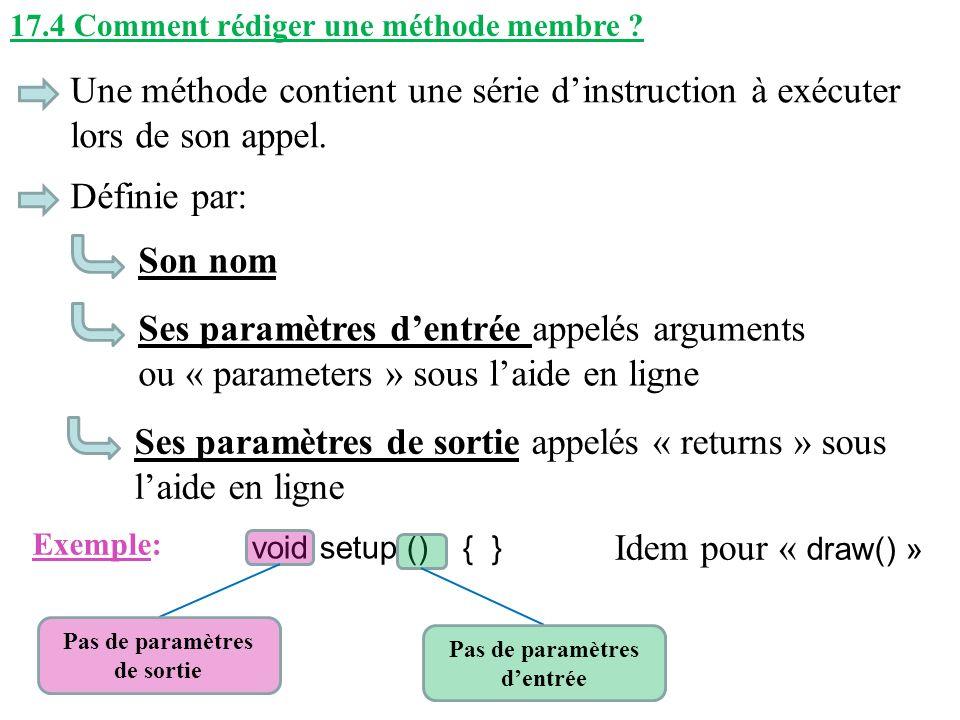 17.4 Comment rédiger une méthode membre ? Une méthode contient une série dinstruction à exécuter lors de son appel. Son nom Définie par: Ses paramètre