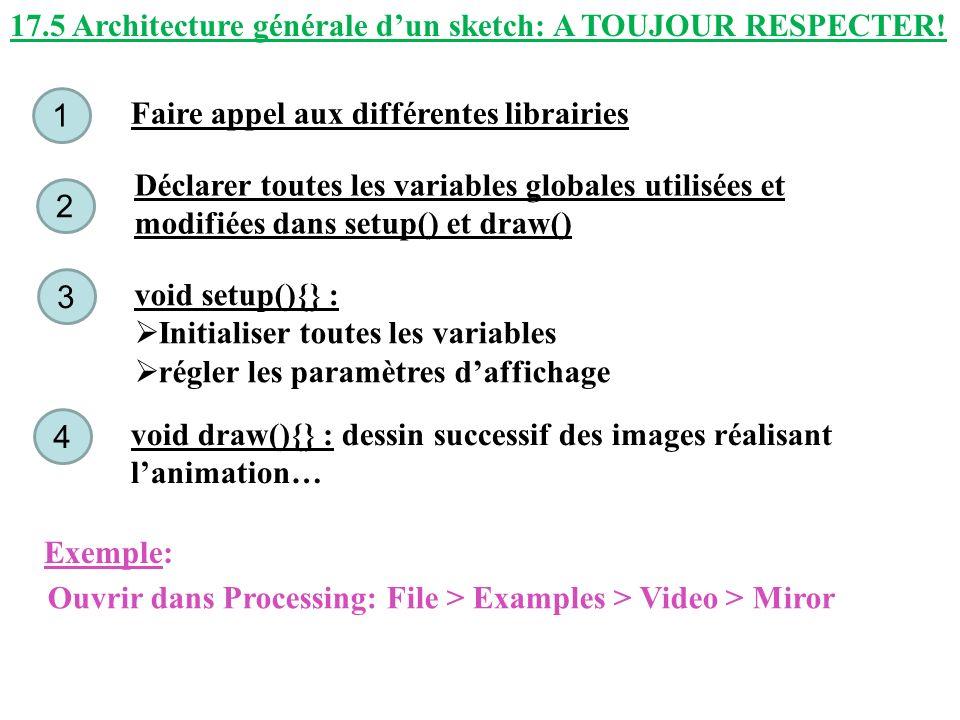 17.5 Architecture générale dun sketch: A TOUJOUR RESPECTER! Faire appel aux différentes librairies 1 Déclarer toutes les variables globales utilisées