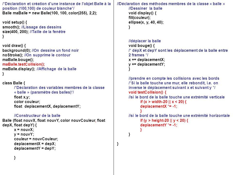/*Déclaration et création d'une instance de l'objet Balle à la position (100,100) de couleur blanche*/ Balle maBalle = new Balle(100, 100, color(255),
