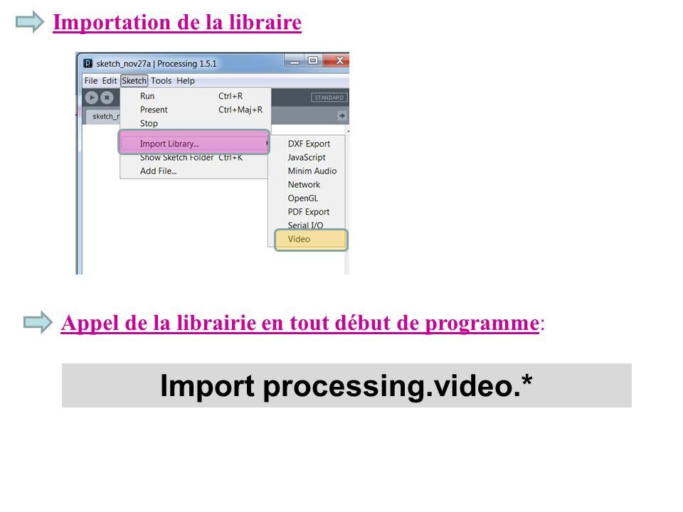 Importation de la libraire Appel de la librairie en tout début de programme: Import processing.video.*