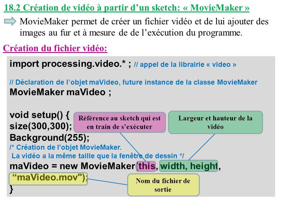 18.2 Création de vidéo à partir dun sketch: « MovieMaker » MovieMaker permet de créer un fichier vidéo et de lui ajouter des images au fur et à mesure