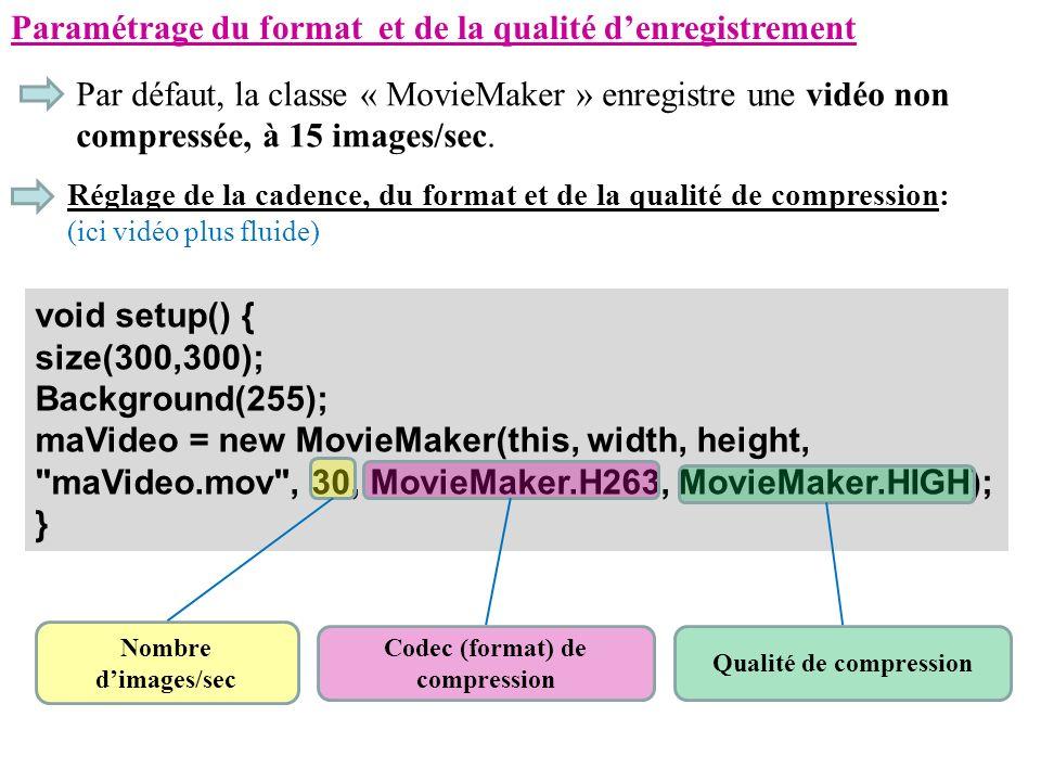 Paramétrage du format et de la qualité denregistrement Par défaut, la classe « MovieMaker » enregistre une vidéo non compressée, à 15 images/sec. Régl