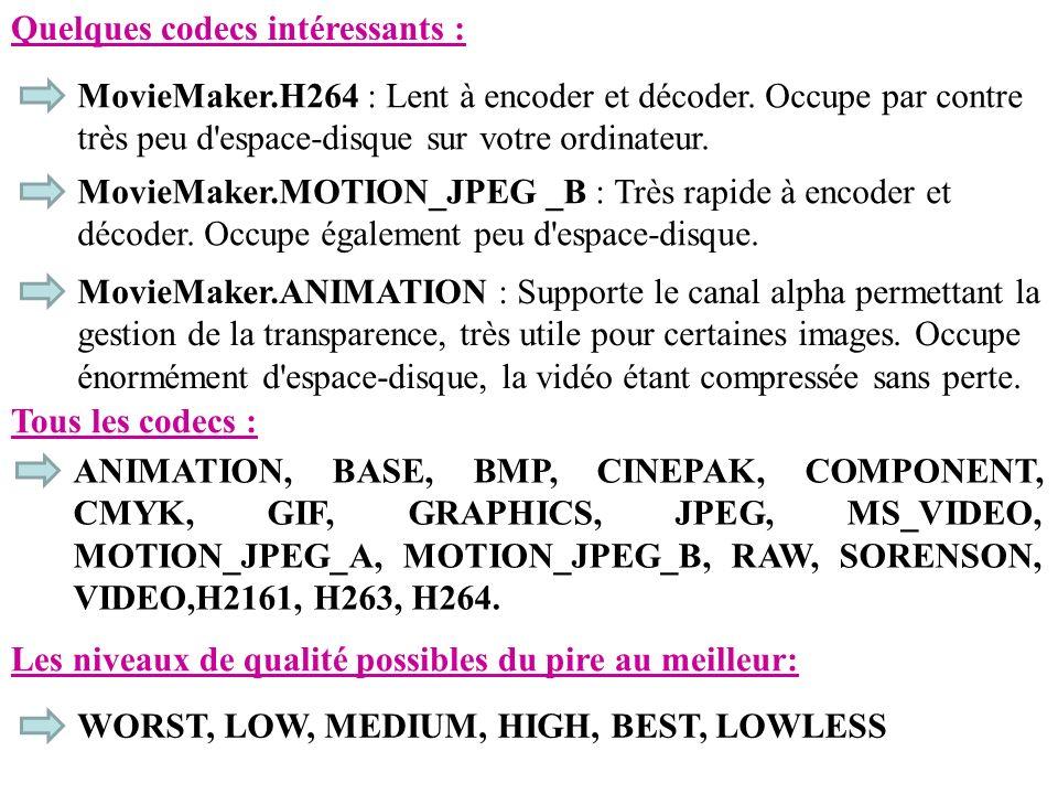 Quelques codecs intéressants : MovieMaker.H264 : Lent à encoder et décoder. Occupe par contre très peu d'espace-disque sur votre ordinateur. MovieMake