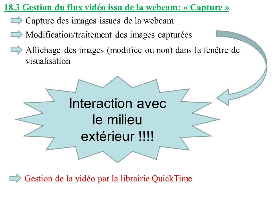 18.3 Gestion du flux vidéo issu de la webcam: « Capture » Capture des images issues de la webcam Modification/traitement des images capturées Affichag