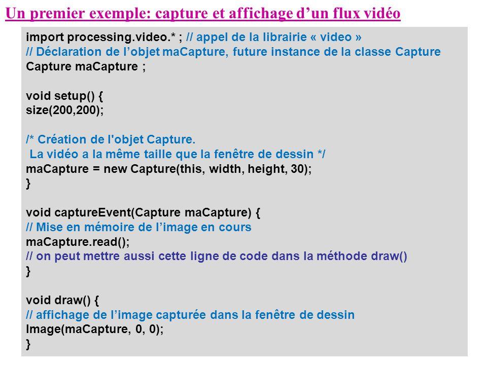 Un premier exemple: capture et affichage dun flux vidéo import processing.video.* ; // appel de la librairie « video » // Déclaration de lobjet maCapt