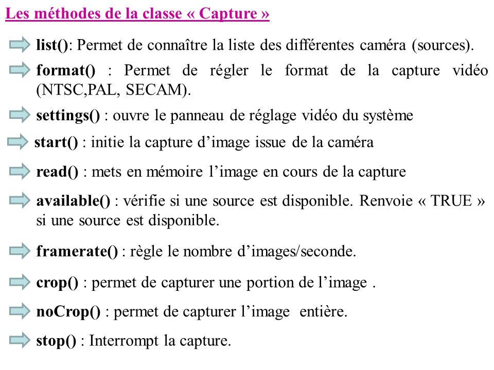 Les méthodes de la classe « Capture » list(): Permet de connaître la liste des différentes caméra (sources). format() : Permet de régler le format de