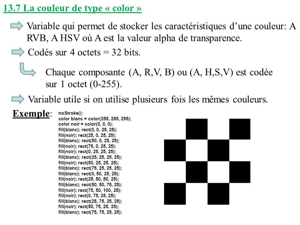 13.7 La couleur de type « color » Variable qui permet de stocker les caractéristiques dune couleur: A RVB, A HSV où A est la valeur alpha de transpare
