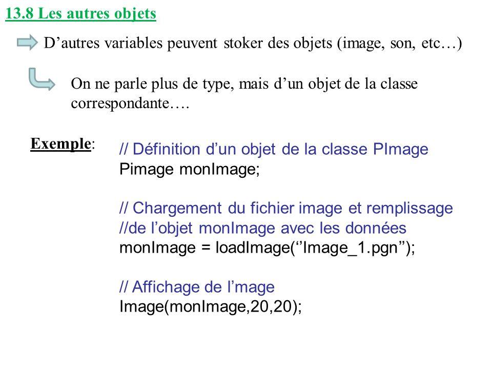 13.8 Les autres objets Dautres variables peuvent stoker des objets (image, son, etc…) On ne parle plus de type, mais dun objet de la classe correspond