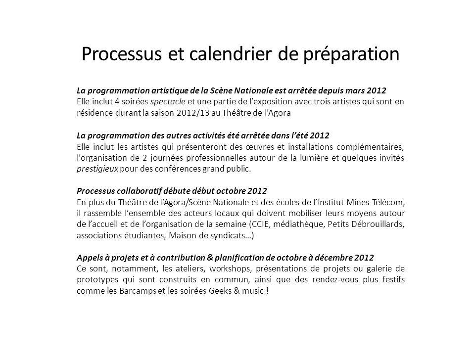 Processus et calendrier de préparation La programmation artistique de la Scène Nationale est arrêtée depuis mars 2012 Elle inclut 4 soirées spectacle