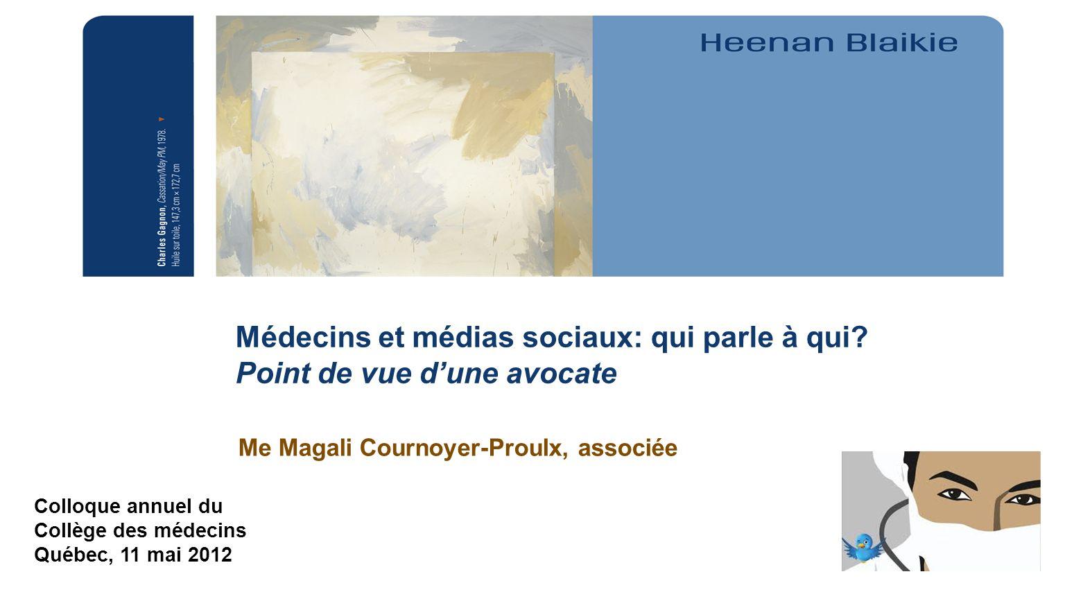 Me Magali Cournoyer-Proulx, associée Colloque annuel du Collège des médecins Québec, 11 mai 2012 Médecins et médias sociaux: qui parle à qui? Point de