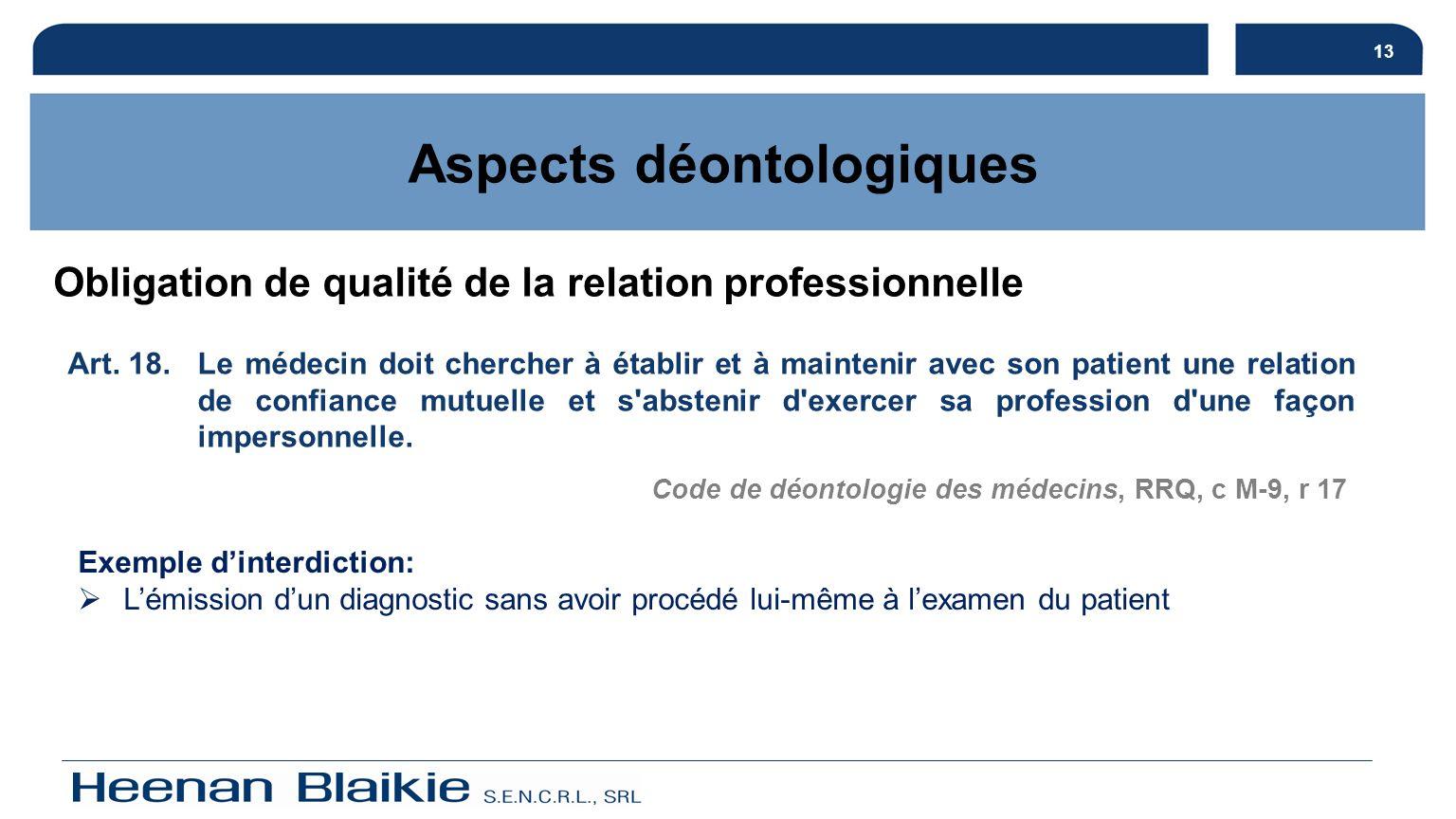 13 Obligation de qualité de la relation professionnelle Aspects déontologiques Art. 18. Le médecin doit chercher à établir et à maintenir avec son pat
