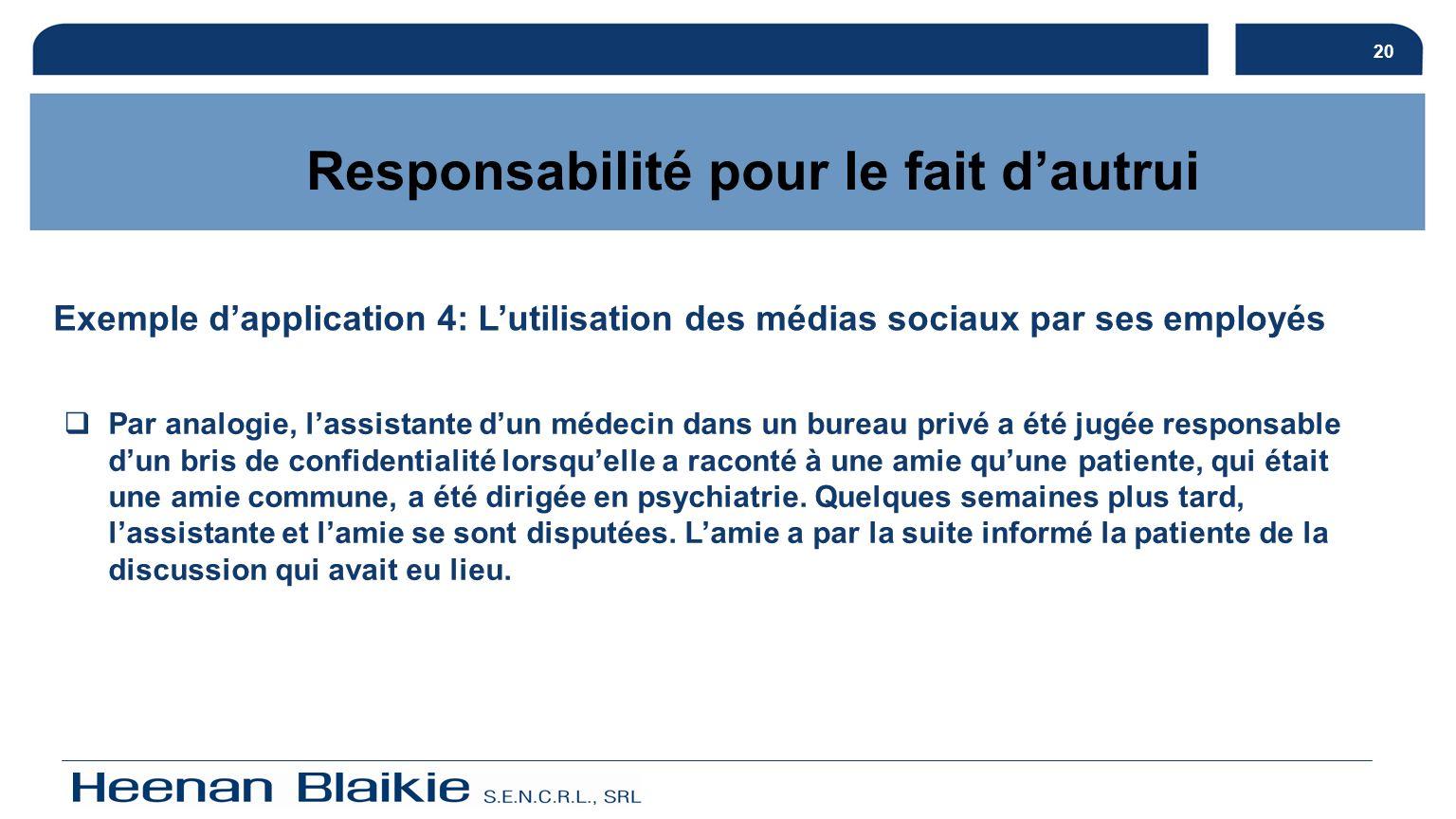 20 Responsabilité pour le fait dautrui Exemple dapplication 4: Lutilisation des médias sociaux par ses employés Par analogie, lassistante dun médecin