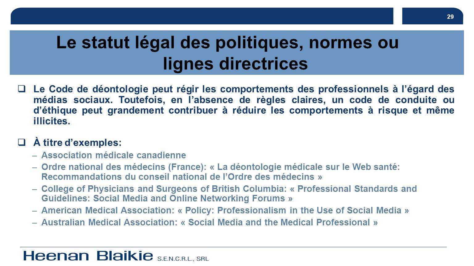 29 Le statut légal des politiques, normes ou lignes directrices Le Code de déontologie peut régir les comportements des professionnels à légard des mé