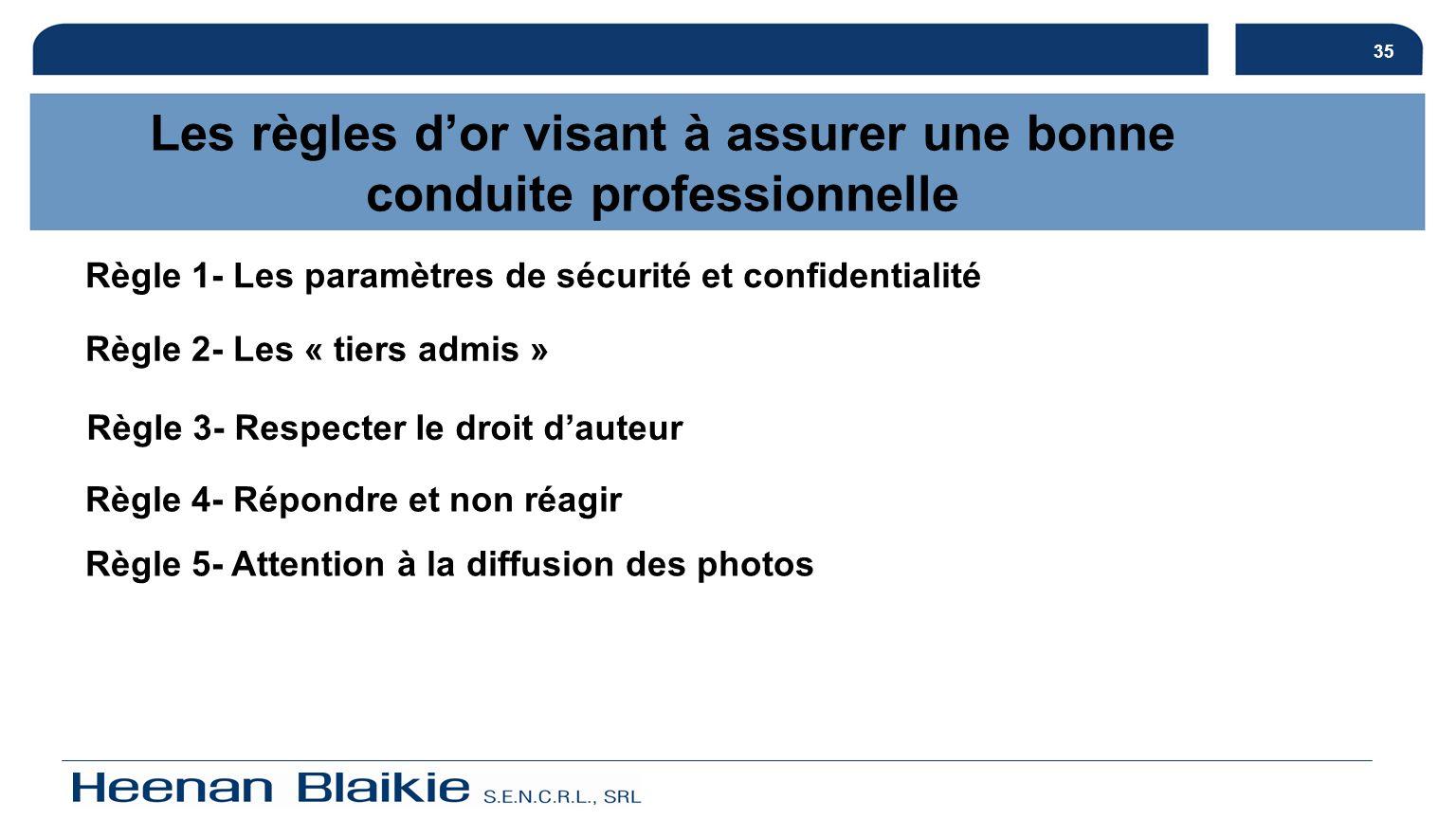 35 Les règles dor visant à assurer une bonne conduite professionnelle Règle 1- Les paramètres de sécurité et confidentialité Règle 2- Les « tiers admi