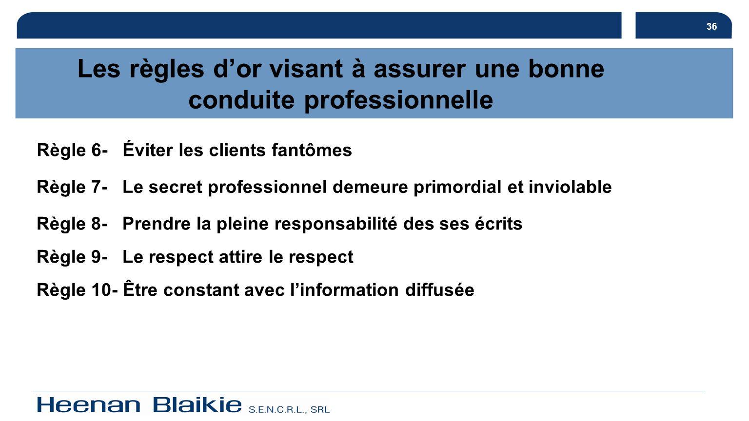 36 Règle 6- Éviter les clients fantômes Règle 7- Le secret professionnel demeure primordial et inviolable Règle 8- Prendre la pleine responsabilité de