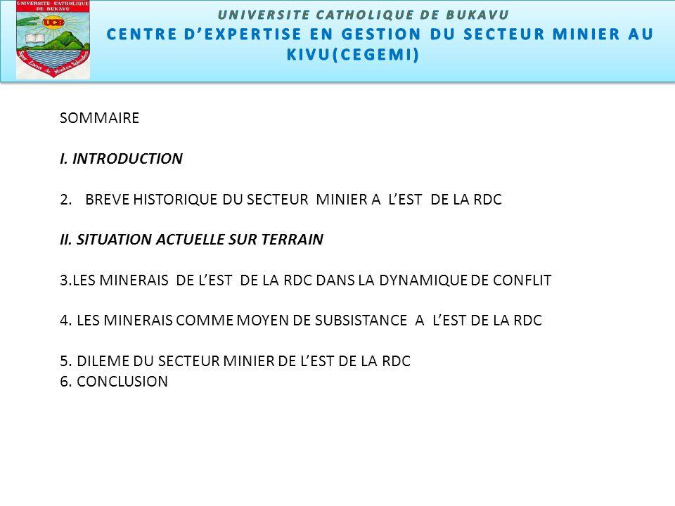 Centre dexpertise en gestion du secteur minier u Kivu (CEGEMI) Le sous sol de lest de la RDC contient les minerais à valeur unitaire très élevée.