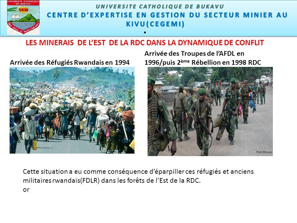 LES MINERAIS DE LEST DE LA RDC DANS LA DYNAMIQUE DE CONFLIT Arrivée des Réfugiés Rwandais en 1994 Arrivée des Troupes de lAFDL en 1996/puis 2 ème Rébellion en 1998 RDC Cette situation a eu comme conséquence déparpiller ces réfugiés et anciens militaires rwandais(FDLR) dans les forêts de lEst de la RDC.