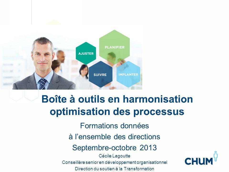 Boîte à outils en harmonisation optimisation des processus Formations données à lensemble des directions Septembre-octobre 2013 Cécile Lagoutte Consei