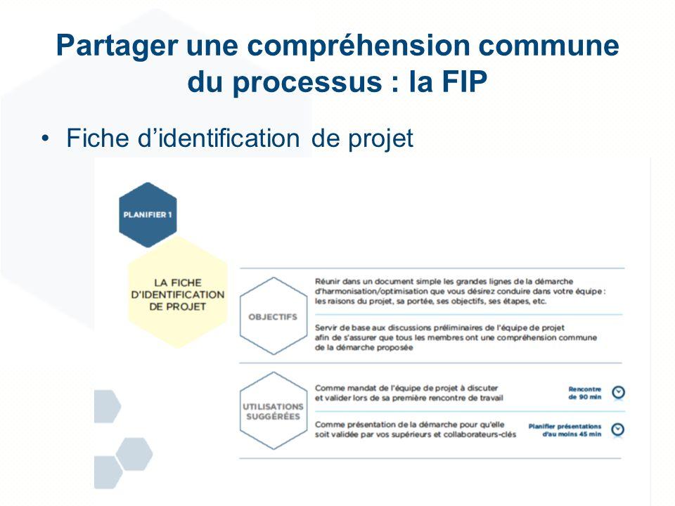 Partager une compréhension commune du processus : la FIP Fiche didentification de projet