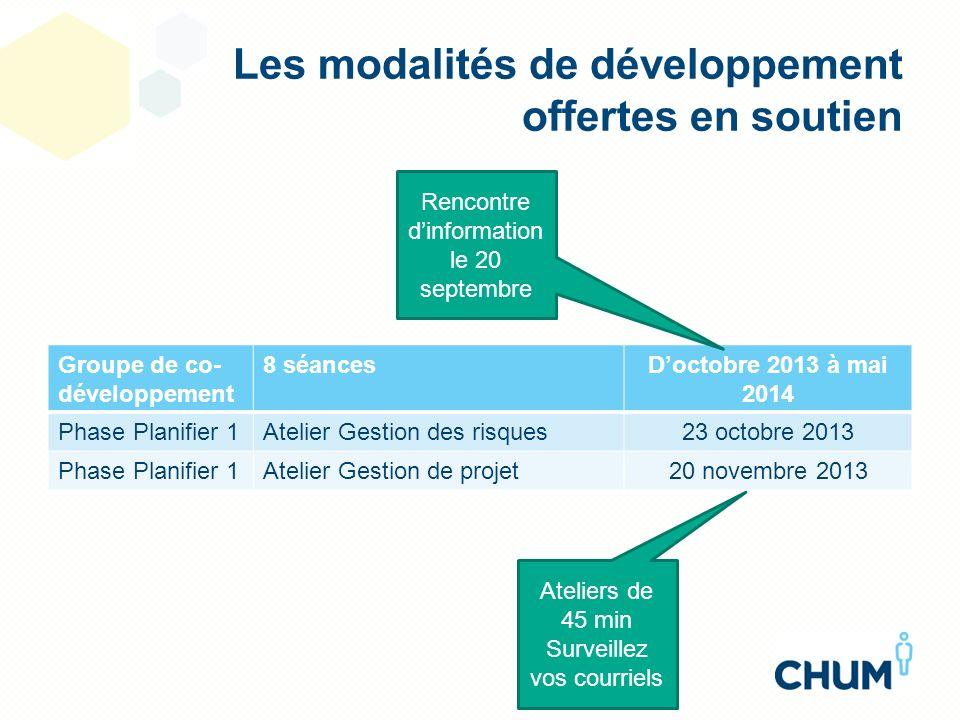 Les modalités de développement offertes en soutien Groupe de co- développement 8 séancesDoctobre 2013 à mai 2014 Phase Planifier 1Atelier Gestion des