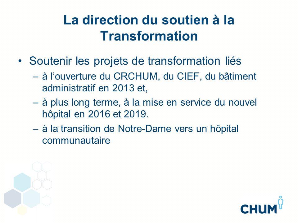 La direction du soutien à la Transformation Soutenir les projets de transformation liés –à louverture du CRCHUM, du CIEF, du bâtiment administratif en