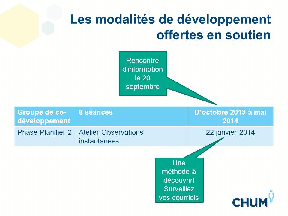Les modalités de développement offertes en soutien Groupe de co- développement 8 séancesDoctobre 2013 à mai 2014 Phase Planifier 2Atelier Observations