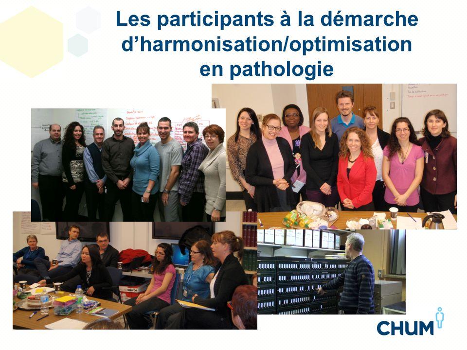 Les participants à la démarche dharmonisation/optimisation en pathologie