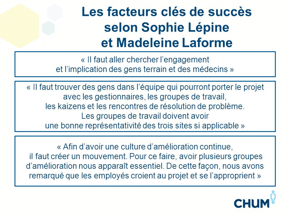Les facteurs clés de succès selon Sophie Lépine et Madeleine Laforme « Il faut trouver des gens dans léquipe qui pourront porter le projet avec les ge