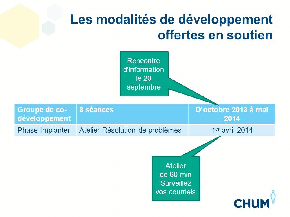 Les modalités de développement offertes en soutien Groupe de co- développement 8 séancesDoctobre 2013 à mai 2014 Phase ImplanterAtelier Résolution de