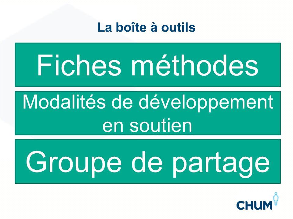 La boîte à outils Fiches méthodes Modalités de développement en soutien Groupe de partage