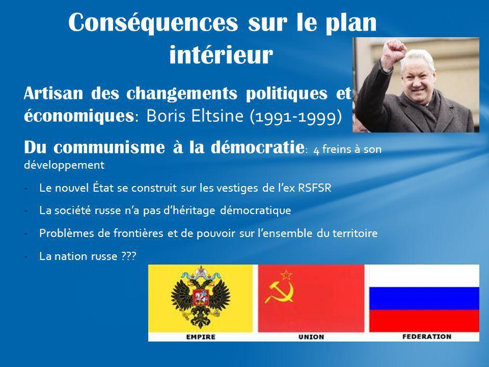 Artisan des changements politiques et économiques : Boris Eltsine (1991-1999) Du communisme à la démocratie : 4 freins à son développement -Le nouvel